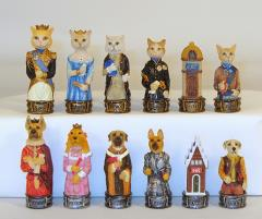 "3"" Cats & Dogs Resin Chessmen"