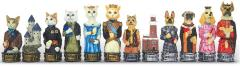 "3.25"" Cats & Dogs Chessmen (Hand Painted Resin)"