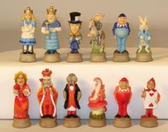 "3"" Alice in Wonderland vs. Queen of Hearts Army Chessmen"
