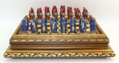 """3.25"""" Red vs Blue Dragon Chessmen on Golden Wood Veneer Chest"""