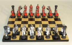 Black and Maple Chest Themed Chess Set w/Crusades