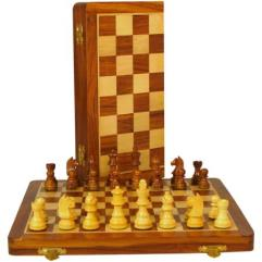 "14"" Sheesham/Boxwood Folding Chess Set"