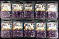 Poly Set Purple w/White (7) - Ten 7 Piece Sets!