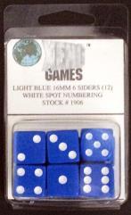 d6 16mm Blue w/White Pips (12)