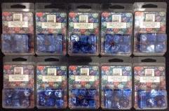 Poly Set Blue w/Gold (7) - Ten 7 Piece Sets!