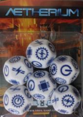 Dice Set - White w/Blue (6)