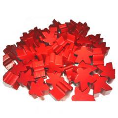 16mm Red Wooden Meeples