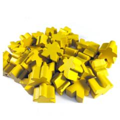 16mm Yellow Wooden Meeples