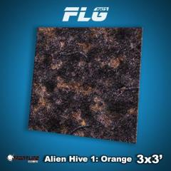 3' x 3' - Alien Hive, Orange