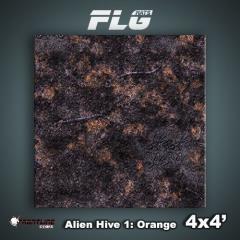 4' x 4' - Alien Hive, Orange
