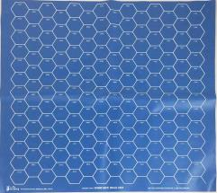 "27"" X 27"" Blue Vinyl Game Mat - 50mm Hexes"