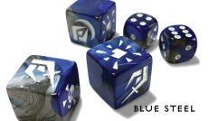 Premium Attack Dice - Blue Steel w/White (5)