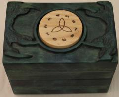 Celtic Counter Deck Box - Dragon Gaze and Talons, Moss w/Black