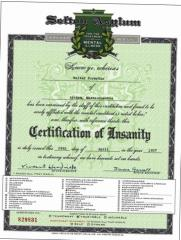 Sefton Asylum Certification of Insanity