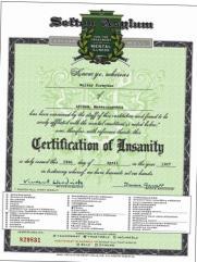 Sefton Asylum Certification of Insanity