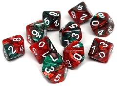 d10 Green and Red Swirl w/White (10)