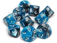 d10 Teal and Grey Granite w/White (10)