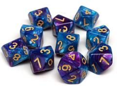 d10 Turquoise and Magenta Swirl w/Gold (10)