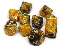 d10 Yellow and Black Granite w/Gold (10)