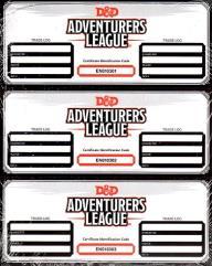 D&D Adventurer's League Item Certificates - Tyranny of Dragons
