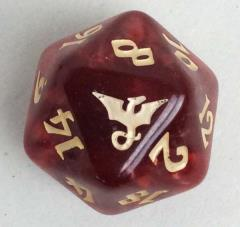d20 25mm Imperial Die - Red Swirl w/Gold