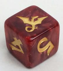 d6 19mm Imperial Die - Red Swirl w/Gold