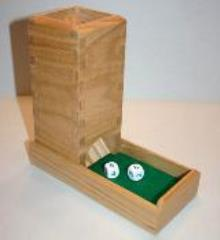 Dice Tower - Red Oak w/Green Leather Inlay