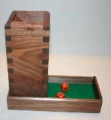 Dice Tower - Walnut w/Green Leather Inlay