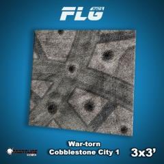 3' x 3' - War-Torn Cobblestone City #1