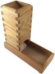 Dice Tower - Red Oak w/Beige Leather Inlay