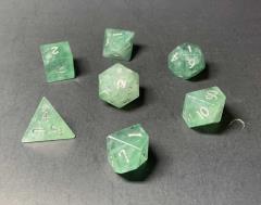 Green Fluorite - Dragon w/Silver (7)