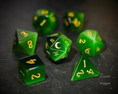 Green Cat's Eye - Moon w/Gold (7)