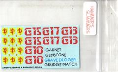 Blower Tank Decals 4 - Garnet, Grave Digger, Grudge Match