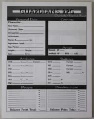 Guardians Character Sheet Pad
