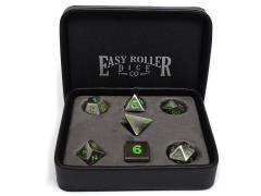 Legendary Silver Metal Dice w/Green - Standard Case (7)
