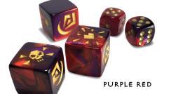 Premium Attack Dice -Purple Red w/Gold (5)