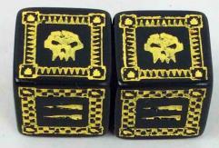 Orc d6 Set - Black w/Yellow (2)
