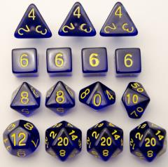 Polyhedral Dice - Translucent Dark Blue w/Gold (15)