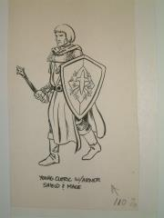 "#15 - Young Cleric Warrior w/Shield & Mace - 5"" x 8"" Original Ink"