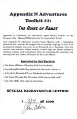 Appendix N Adventures Toolkit #1 - Ruins of Ramat (Kickstarter Exclusive)