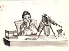 Untitled - Secretary w/Machine Gun Original Ink