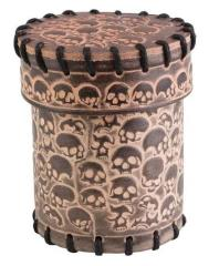 Skull Leather Dice Cup - Beige