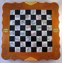 Chess - Wood & Ceramic Board w/Soapstone Pieces - Jade & Black