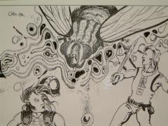 "#6 - Soldier Fly Attack - 9.5"" x 6.5"" Original Ink"