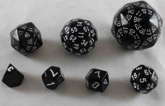 Unique Polyhedral Dice Set - Black w/White (7)