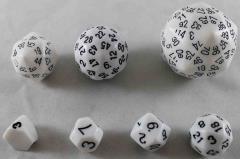 Unique Polyhedral Dice Set - White w/Black (7)