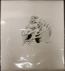 "Untitled Pen and Ink - Elder Riding Dragon - 14"" x 17"""