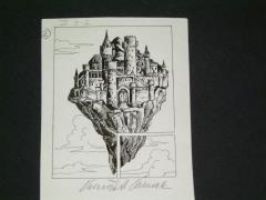 "TSR Dragonlance Legends #3 - Test of the Twins - Flying Citadel - 3.5"" x 4.5"" Original Ink"