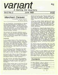 """Vol. 2, #2 """"Merchant Caravan Scenario, Hit Location Charts for Vehicles, Finding a Broker in Traveller"""""""