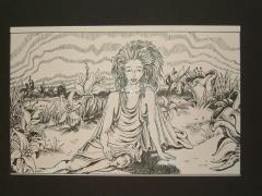 "#2 - Beautiful Woman in Field - 11"" x 7"" Original Ink"
